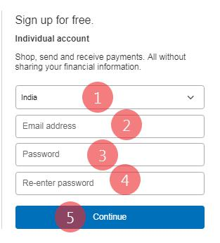 PayPal account create