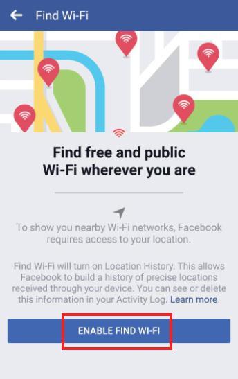 Facebook new feature find wifi